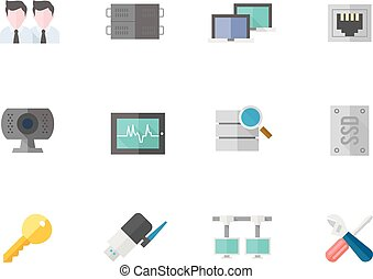 Flat color icons - More Computer Network