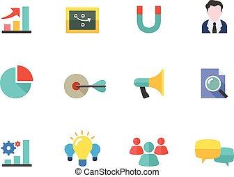 färg, lägenhet, ikonen,  -, marknadsföra