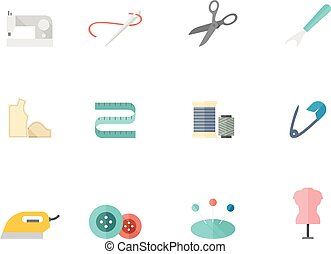 Flat Color Icons - Sewing - Sewing icons in flat colors...