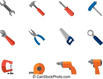 Flat color icons - Hand Tools - Hand tools icon series in...