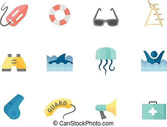 Flat color icons - Lifeguard - Lifeguard icons in flat color...