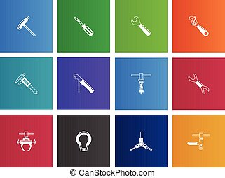 Bicycle Tools Icons - Bicycle tools icon series in Metro...