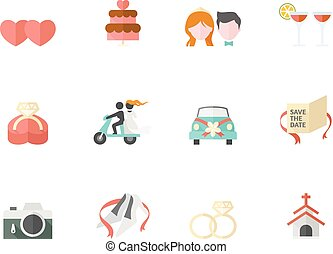 Duo Tone Icons - Wedding - Wedding icons in duo tone colors.