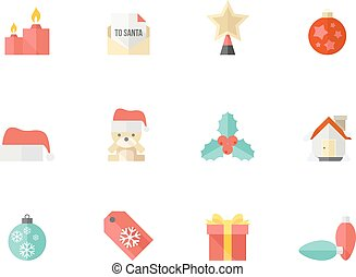 Flat color icons - More Christmas - Christmas icon series in...