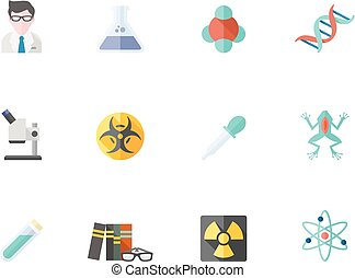 Flat color icons - Science - Science icons in flat color...