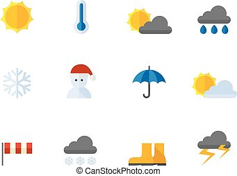 Flat color icons - Weather