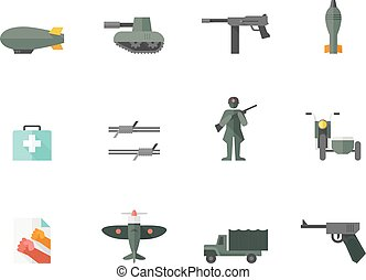 Flat Color Icons - World War - World War icons in flat...