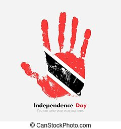 Handprint with the Flag of Trinidad and Tobago in grunge...