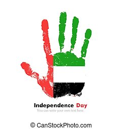 Handprint with the Flag of United Arab Emirates in grunge style