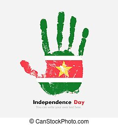 Handprint with the Flag of Suriname in grunge style - Hand...