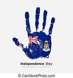 Handprint with the Flag of Cayman Islands in grunge style -...