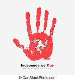 Handprint with the Flag Isle of Man in grunge style - Hand...