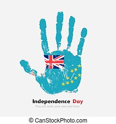 Handprint with the Flag of Tuvalu in grunge style - Hand...