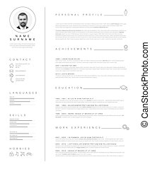 Minimalist resume cv template with nice typography - Vector...