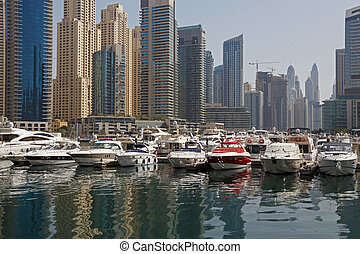 yacht club in Dubai - speedboats in yacht club of Marina...