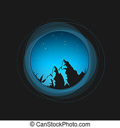 Night sky, the stars and the mountains - Silhouette of the...