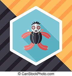 Halloween voodoo doll flat icon with long shadow,eps10