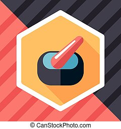mortar and pestle Flat style Icon with long shadows