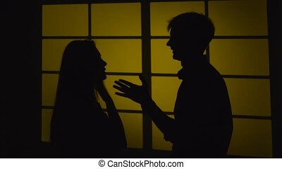 Domestic violence Silhouette Slow motion Close up - People...