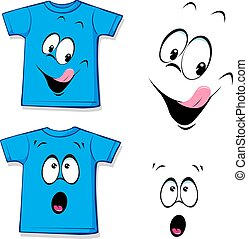 printed blue T-shirt - funny face - vector illustration