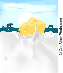 cheese with milk splash and cow