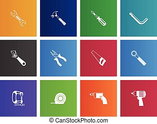 Hand Tools Icons - Hand tools icon series in Metro style.