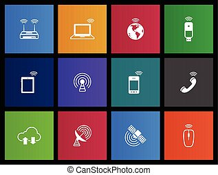 Wireless Icons - Wireless technology icon series in Metro...