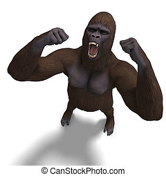 gorilla roaring. 3D rendering with clipping path and shadow...