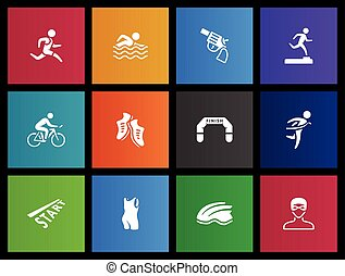 Metro Icons - Triathlon - Triathlon icon series in Metro...