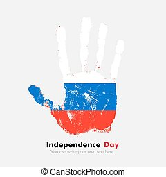 Handprint with the Russian flag in grunge style