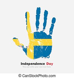 Handprint with the Sweden flag in grunge style