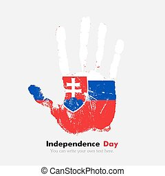 Handprint with the Slovak flag in grunge style - Hand print,...