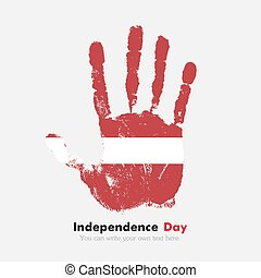 Handprint with the Latvian flag in grunge style