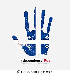 Handprint with the Quebec flag in grunge style - Hand print,...