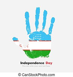 Handprint with the Uzbekistan flag in grunge style