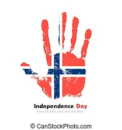 Handprint with the Norwegian flag in grunge style - Hand...