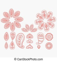 Henna tattoo floral doodle design elements, indian line art mehndi on white background