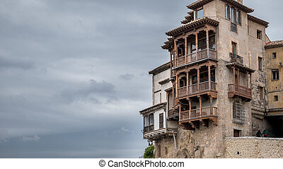 The famous hanging houses in Cuenca - Closeup view of...