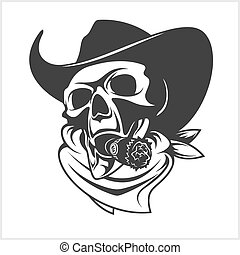 Skull In Cowboy Hat And Cigar - isolated on white