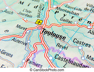 Map of Toulouse, France.