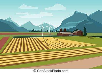 Farm Field With Wind Turbine Alternative Energy Resource...