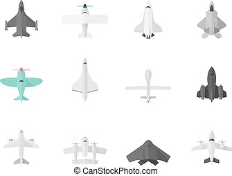 Flat Color Icons - Airplanes - Airplane silhouette icons in...