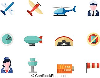 Flat color icons - Aviation - Aviation icons in flat color...