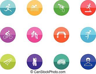 Circle Icons - Triathlon - Triathlon icon series in color...