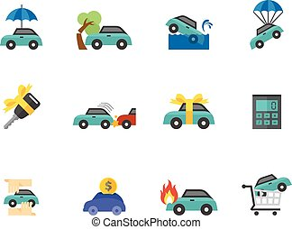 Flat color icons - Auto Insurance - Car insurance icons in...