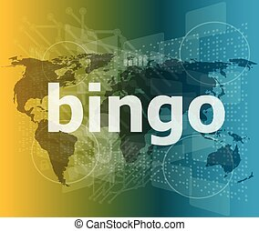 bingo word on business digital touch screen vector illustration