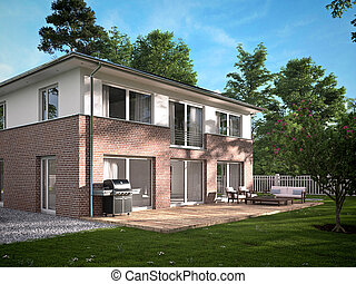 modern townhouse 3d rendering - modern townhouse with a lot...