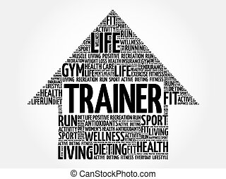 Trainer arrow word cloud, health concept