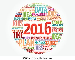 2016 goals plan, project word cloud, business concept...