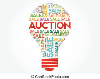 AUCTION bulb word cloud, business concept background